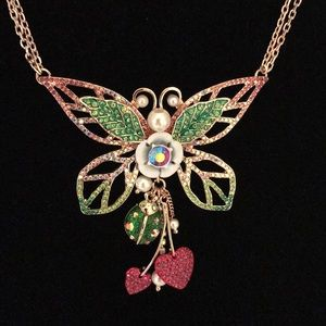 Betsey Johnson Gold Tone Butterfly Necklace NWT